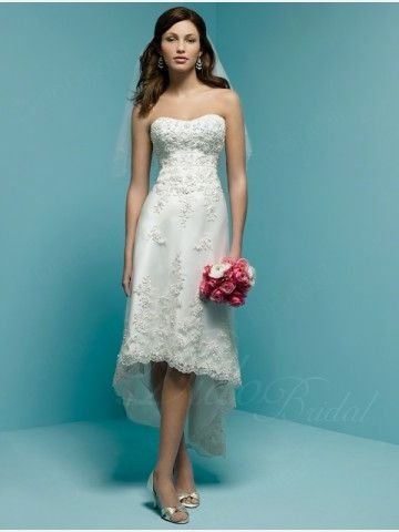 Sweetheart Hi-Low Length A-line Net Embroidered Lace Wedding Dress ...