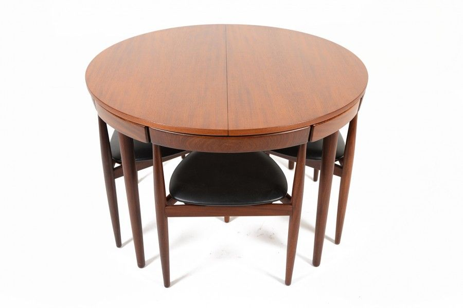 Hans Olsen Mid Century Butterfly Leaf Dining Table And Set Of Four Chairs.  Clever,