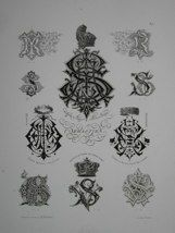 "Sebastien monogrammes french 19th century engraving 12 x 17"" $110"