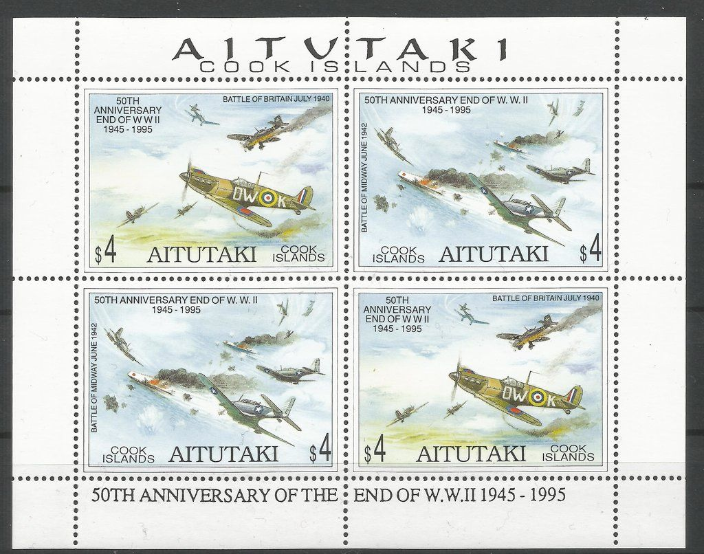 Stamp: Battle of Britain and Midway (Aitutaki) (50th Anniversary End of W.W. II 1945 - 1995) Mi:CK-AI 740-741KB #colnect #collection #stamps
