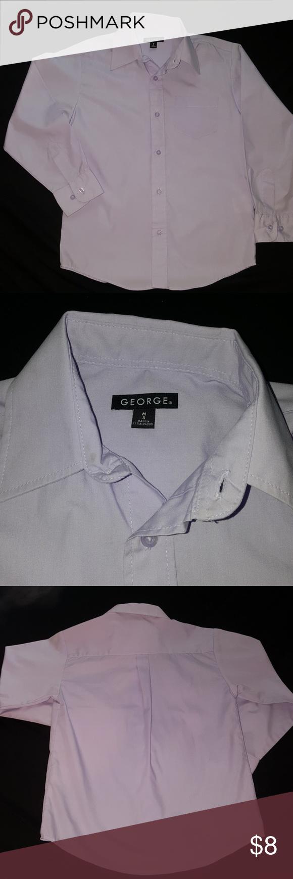 Boys 8 Lavender Dress Shirt Button Down Boys Size 8 M Lavender