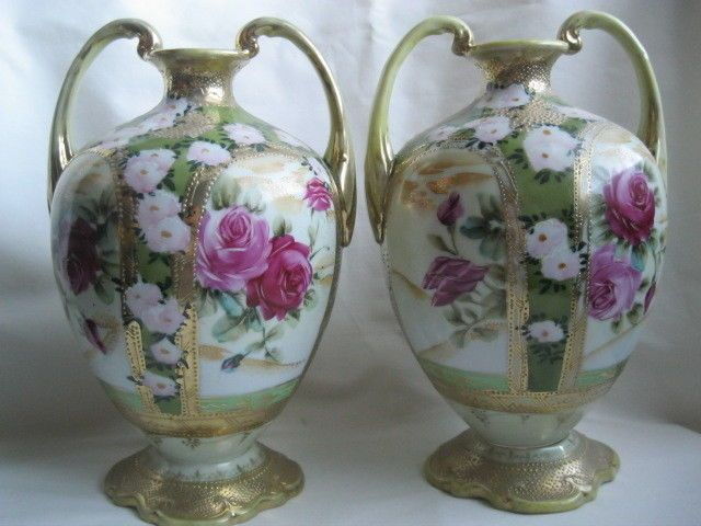 Pair Of Vintage Nippon Hand Painted Vases With Gold Trim And Gold
