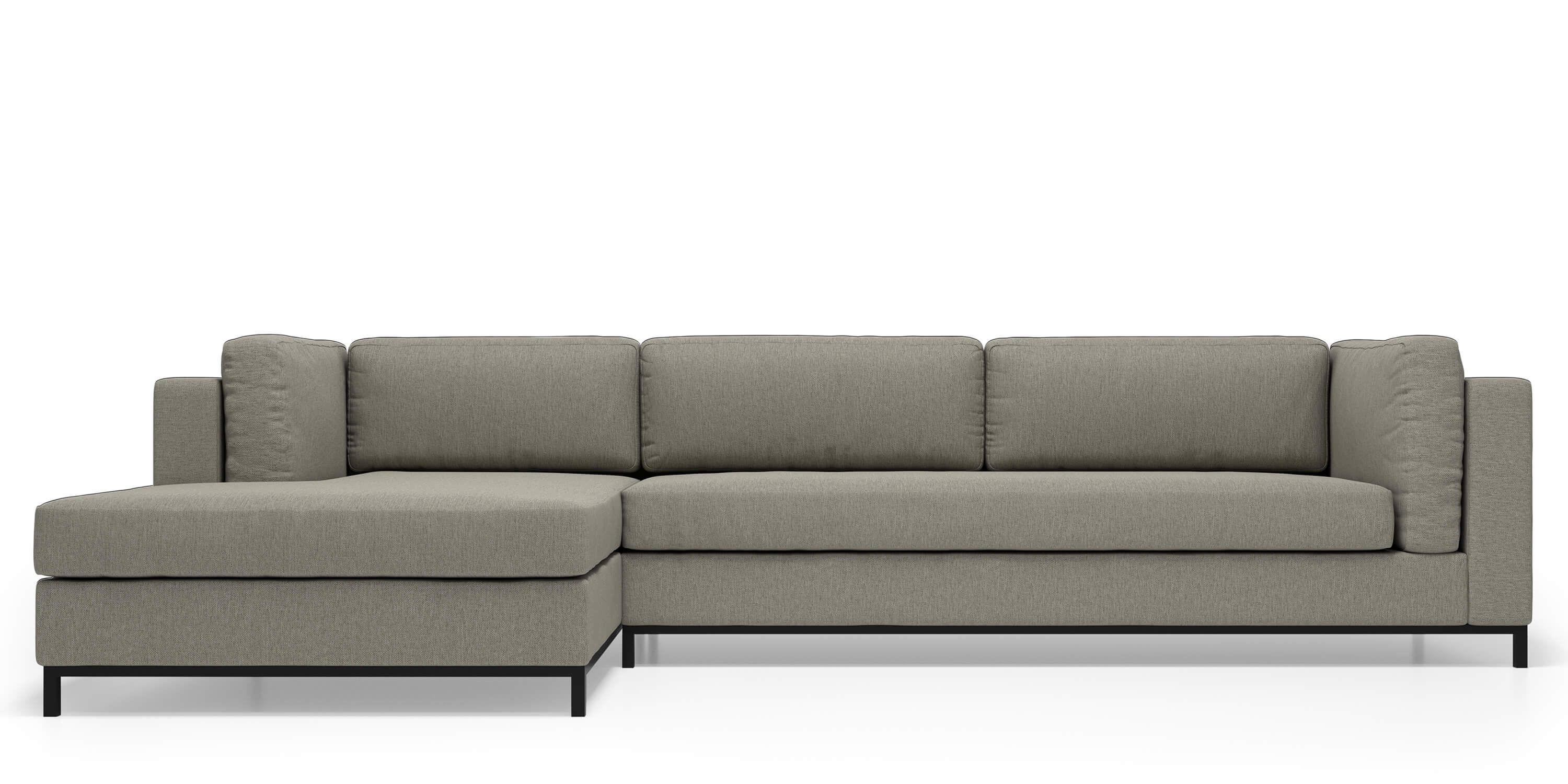 Kohlman Sofa Sectional in Grey Goose Fabric by Kavuus