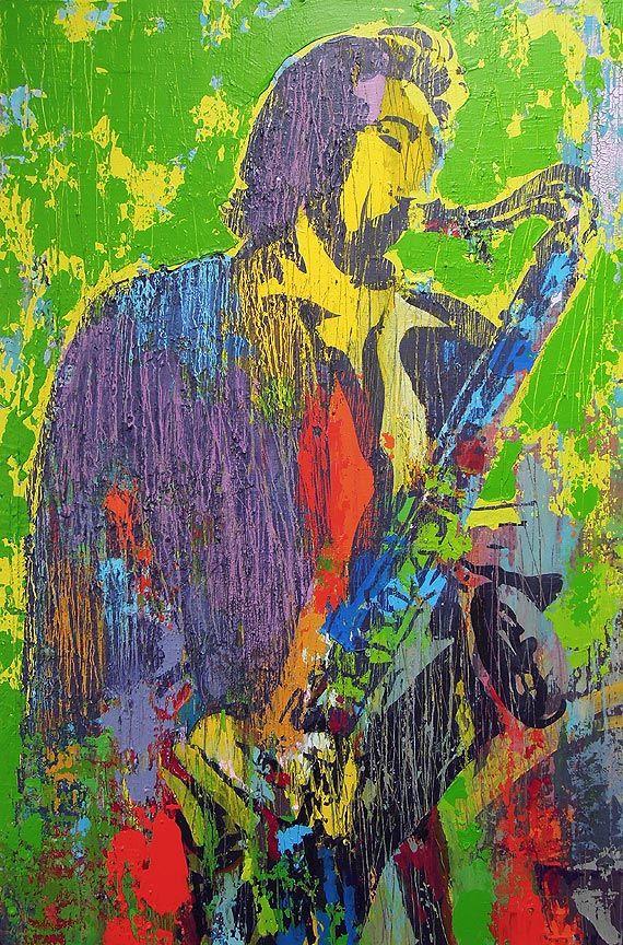 KUNST EN DESIGN: Schilderij saxofonist