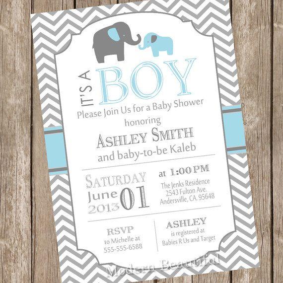 Gray Baby Shower Invitation Elephant