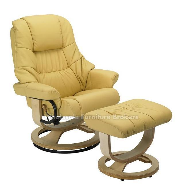 Mario Yellow R 262 Series Top Grain Leather Recliner And Ottoman By