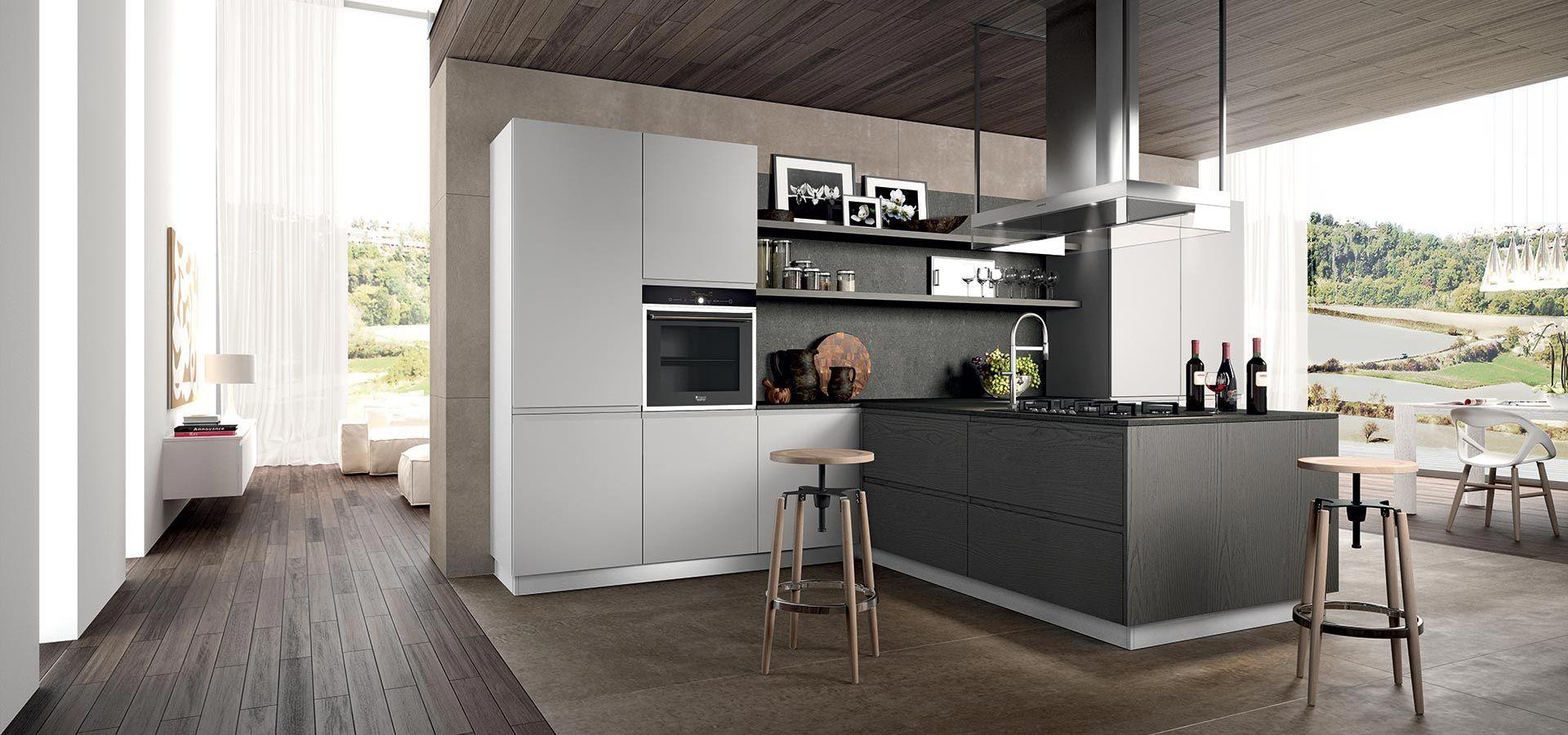 Cucina Moderna - Wega Finitura impiallacciato rovere grigio e ...