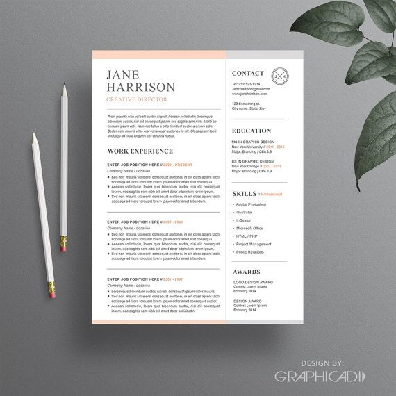 Resume Template for Word CV Template Cover Letter by Graphicadi
