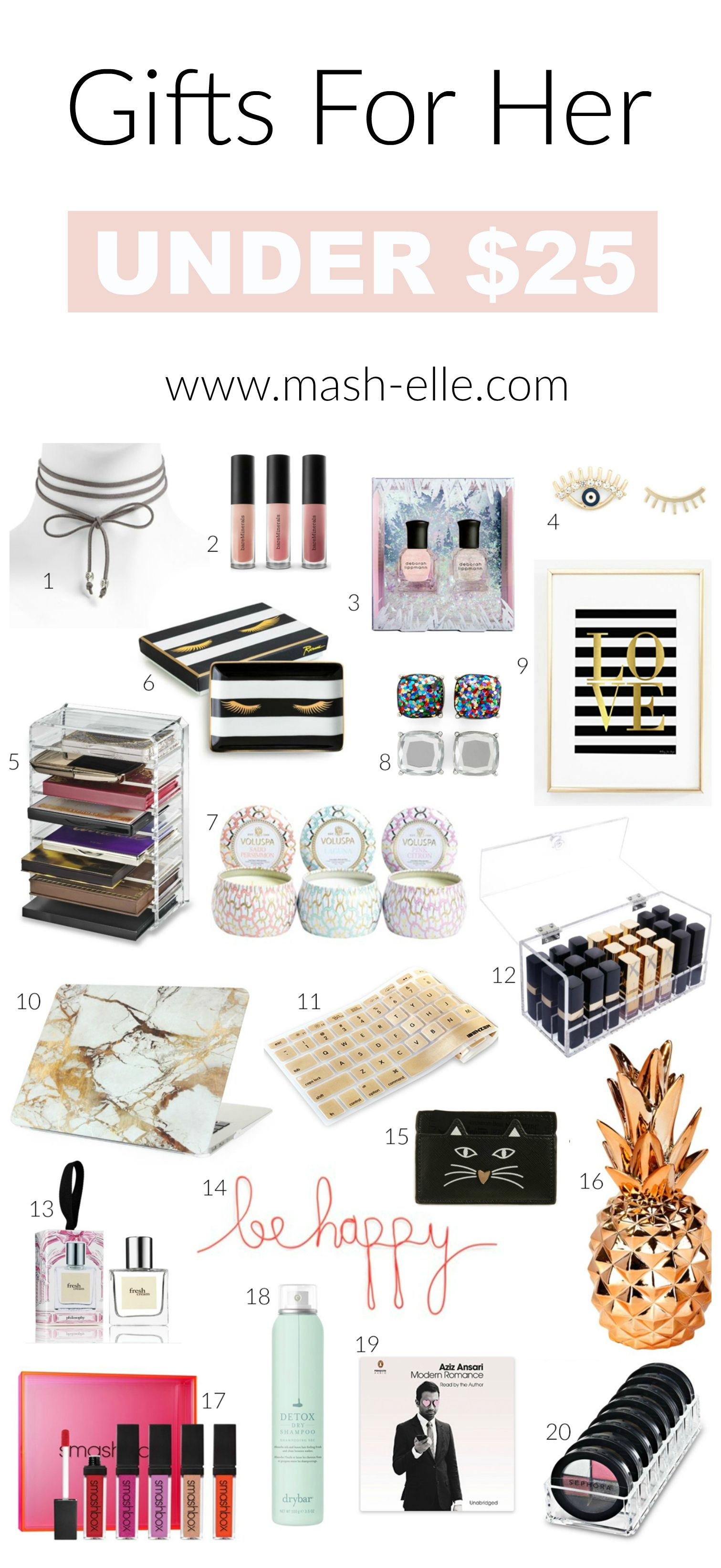 Gift Ideas for Her Under $25 | Gift Guide | Mash Elle | Birthday gifts for  her, Best friend gifts, Gifts for girls