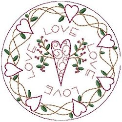 Hearts of Love 5 inch Candle Mat | Primitive | Machine Embroidery Designs | SWAKembroidery.com