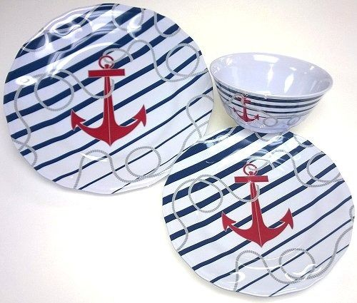 Luxury Non-Skid Nautical Stripes Melamine Dinnerware | Beach House ...