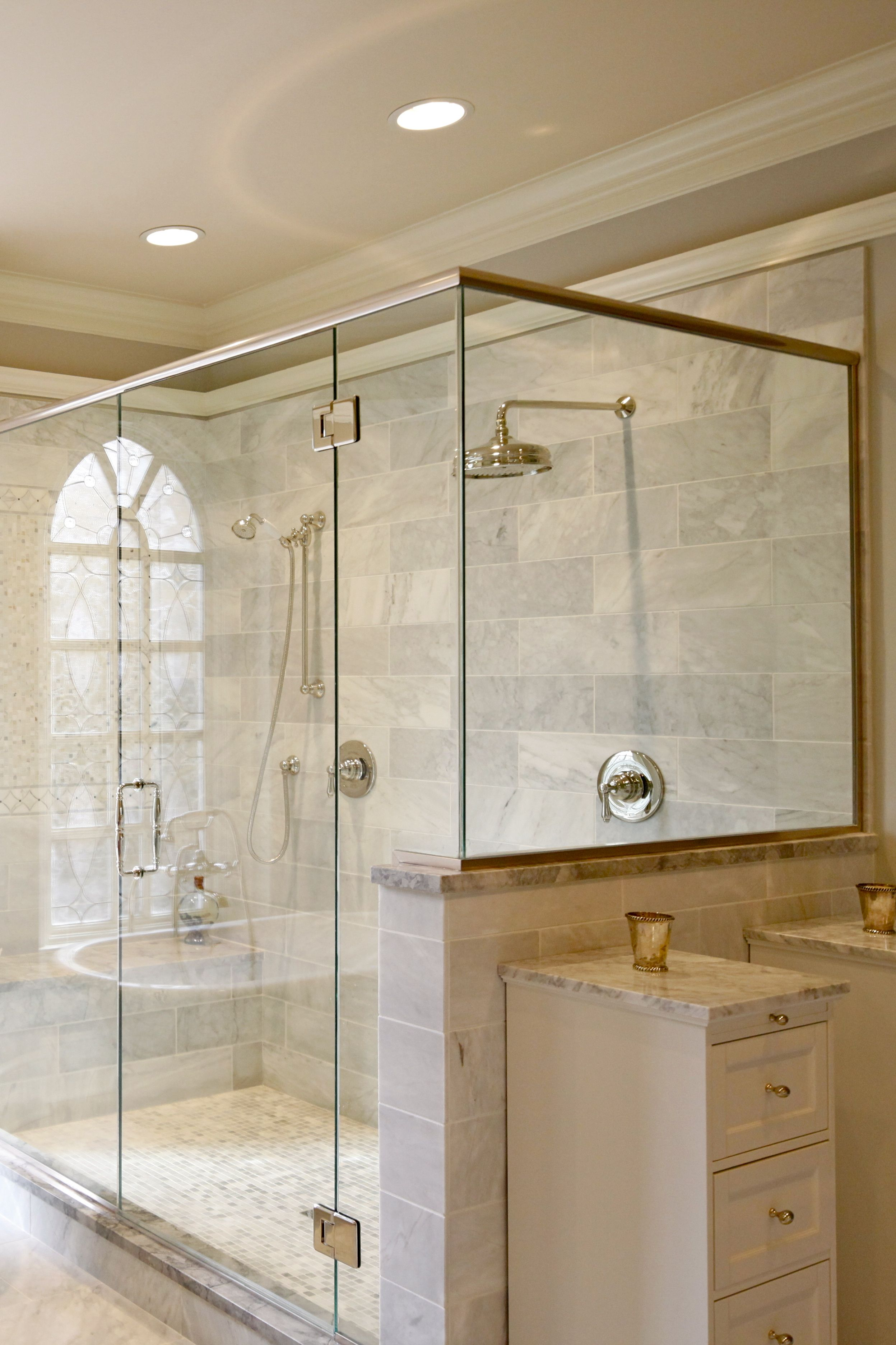 His And Her Shower Walk In Shower And Frameless Shower Top Bathroom Design Bathroom Remodeling Contractors Bathrooms Remodel