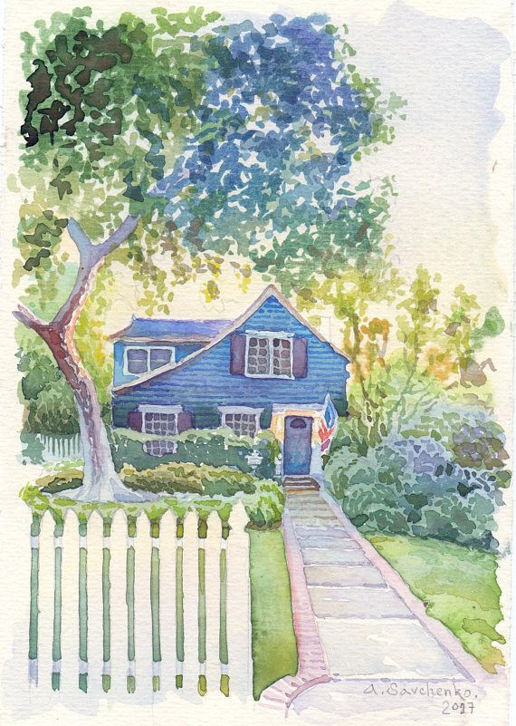 Custom House Portrait Watercolor House Painting House Drawing From