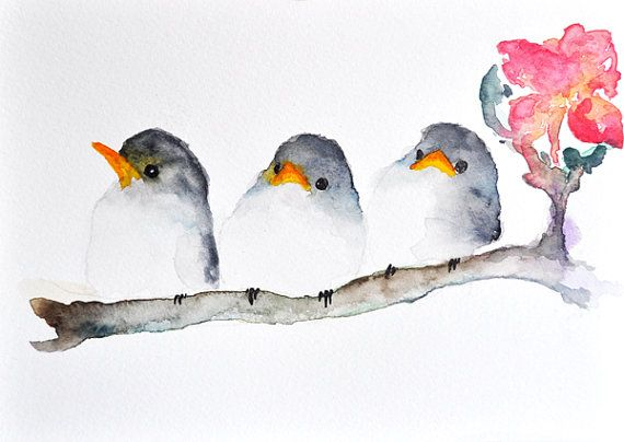 3 Grey Birds Original Watercolor Painting Bird Art Cute
