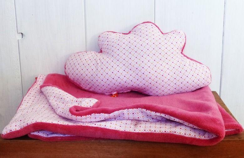 couverture polaire bébé fille Plaid couverture berceau + coussin Nuage Bébé Petite Fille tissu  couverture polaire bébé fille