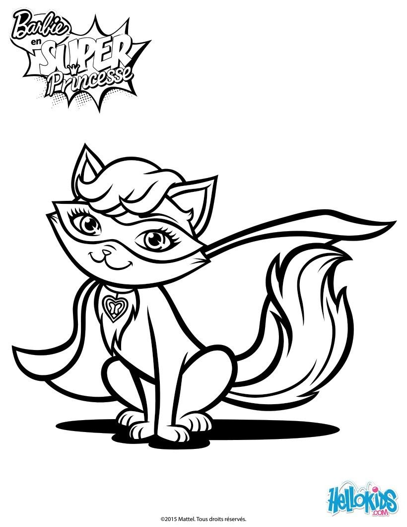 Enjoy Barbie Super Power Magical Pet Cat Coloring Page Along With Other Fun Sheets To Decorate From The Movie In Princess