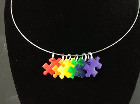 Autism Awareness Necklace, Autism Jewelry, Rainbow Necklace, Puzzle Piece Necklace, Choker Necklace, Gay Pride necklace on Etsy, $18.00