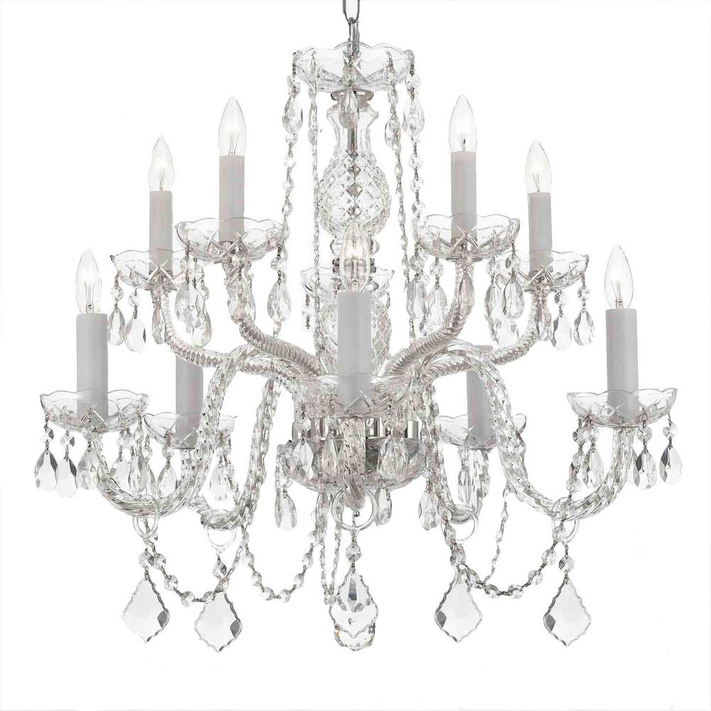 Unbranded 10 Light Empress Crystal Chandelier T40 134 The Home Depot In 2020 Crystal Chandelier Candle Style Chandelier Crystal Candles