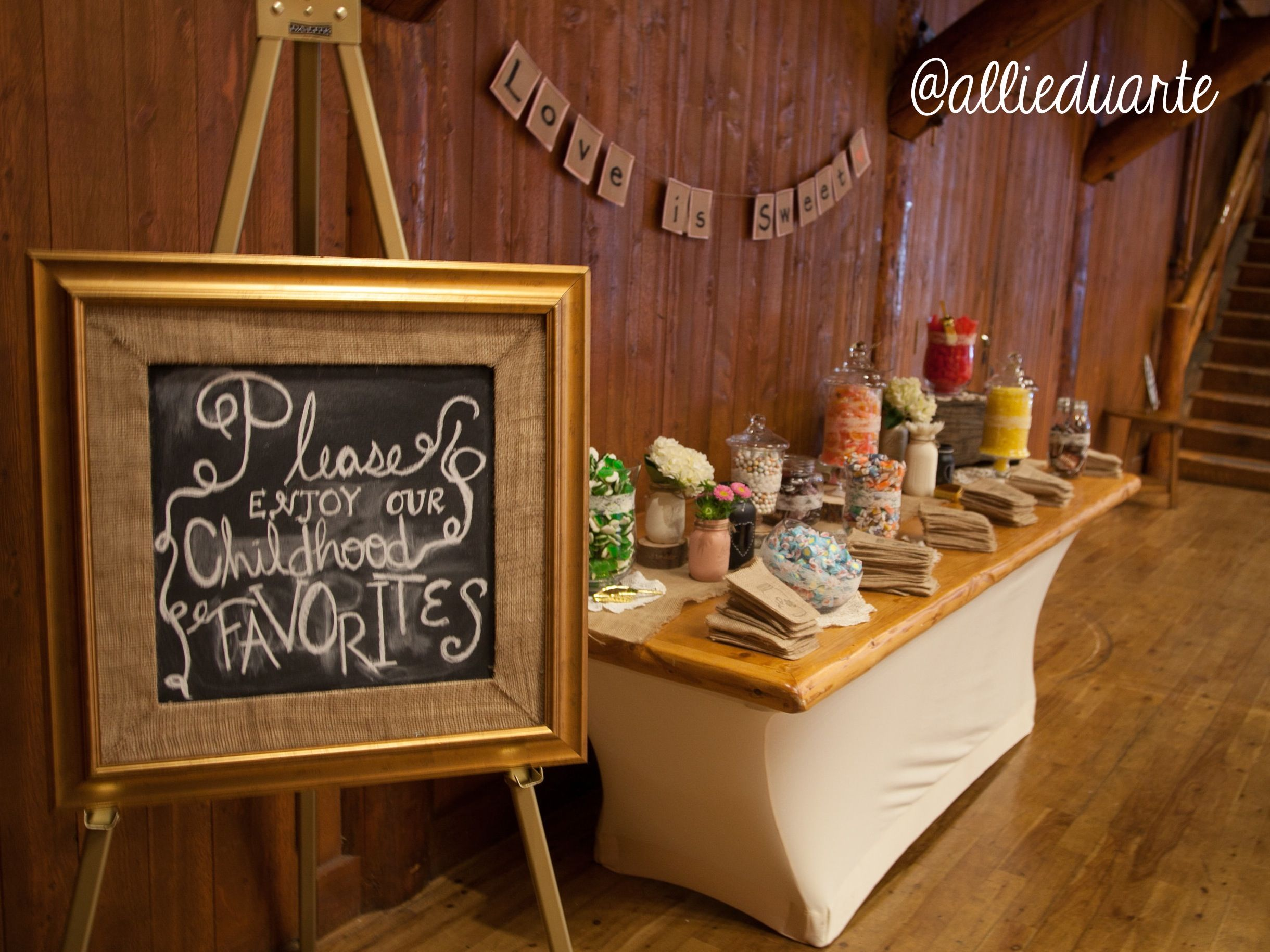 """""""Childhood Favorites"""" themed candy bar at wedding"""