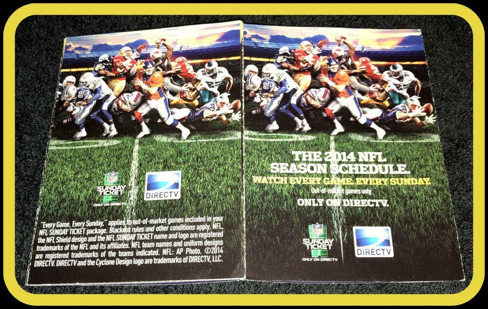 2014 Directv Nfl Football Weekly Pocket Schedule Ex Nm Condition Pocket Schedule Nfl Football Directv Nfl Season