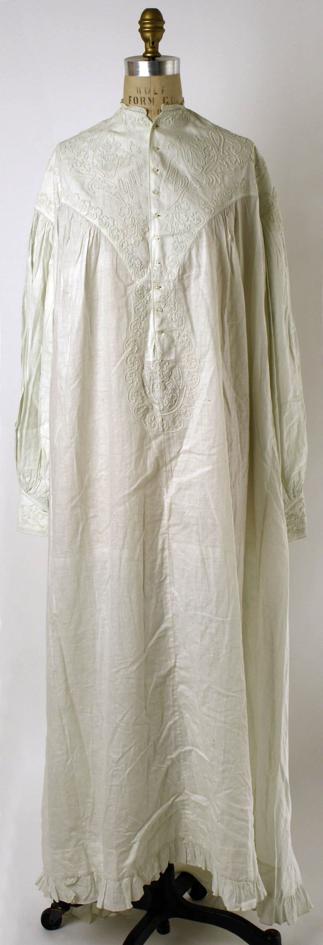 Nightgown   French   1860s   Fine Lace, Silk and Lingerie...