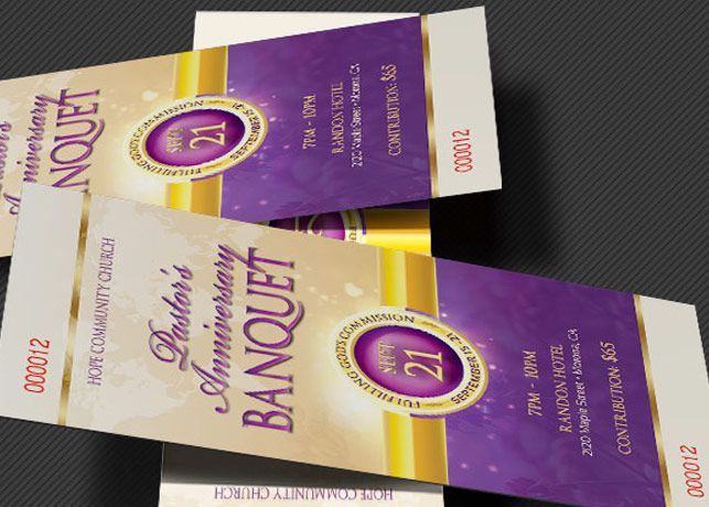Clergy Anniversary Banquet Ticket Template Design and Printing - How To Design A Ticket For An Event