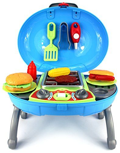Velocity Toys Outdoor Barbecue Bbq Grill Children S Kid Pretend Play Toy Kitchen And Food Set W Lights Sounds This Is An Affiliate Link
