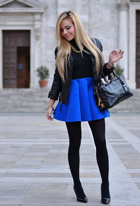cobalt blue skirt, black tights, black pumps, black sweater. Love ...