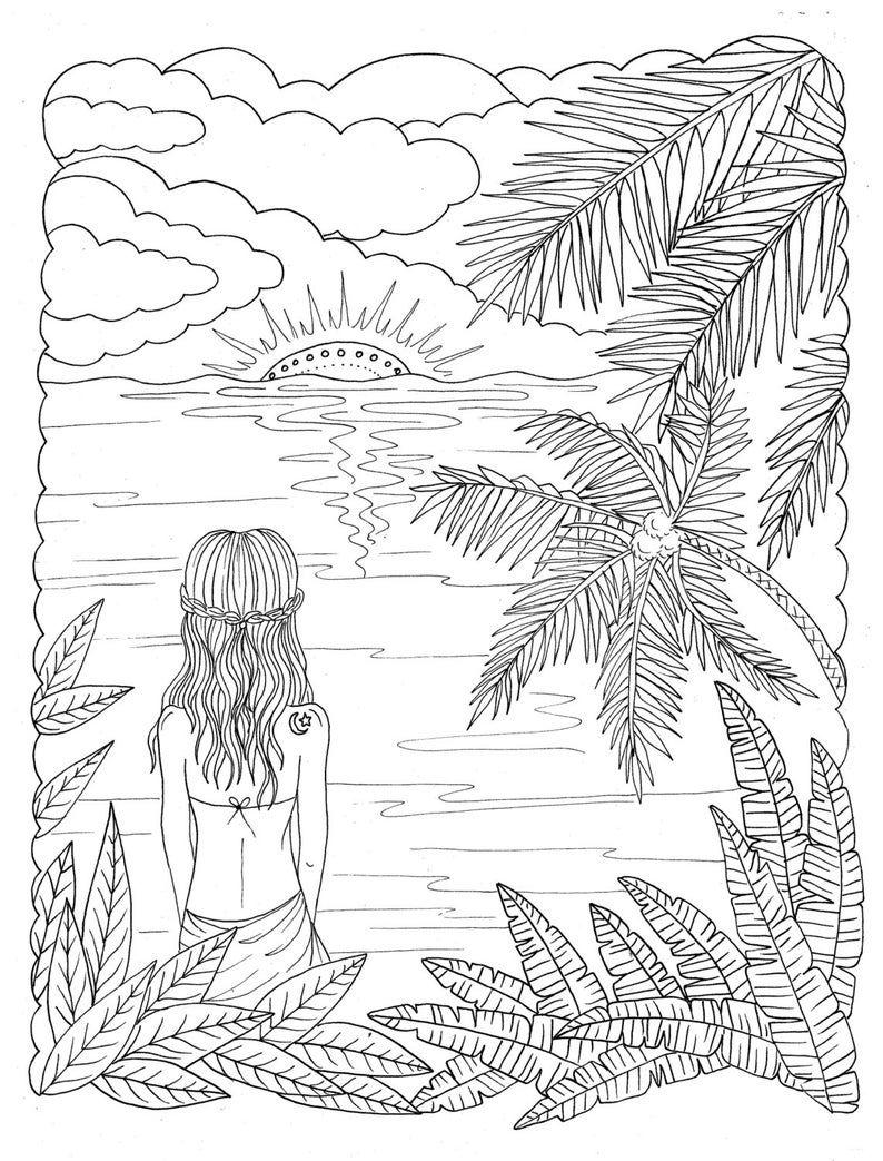 5 Pages Beachy Escape Coloring Digital Color Pages Shells Etsy Beach Coloring Pages Coloring Books Coloring Pages