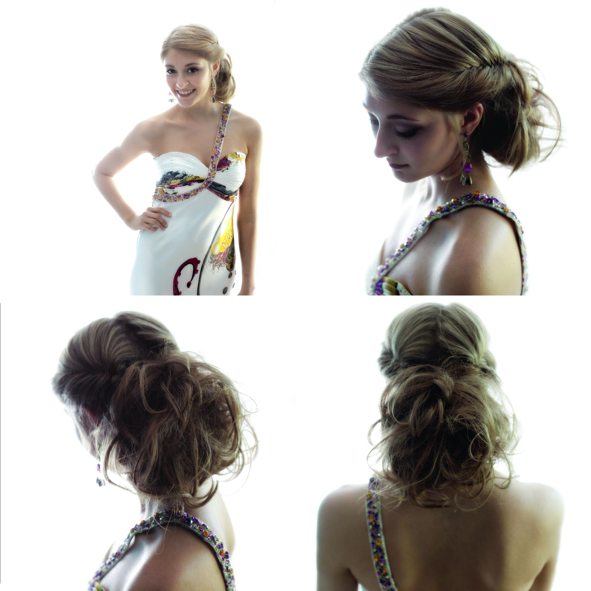 formal hairstyle with fishtail braids and tousled curls