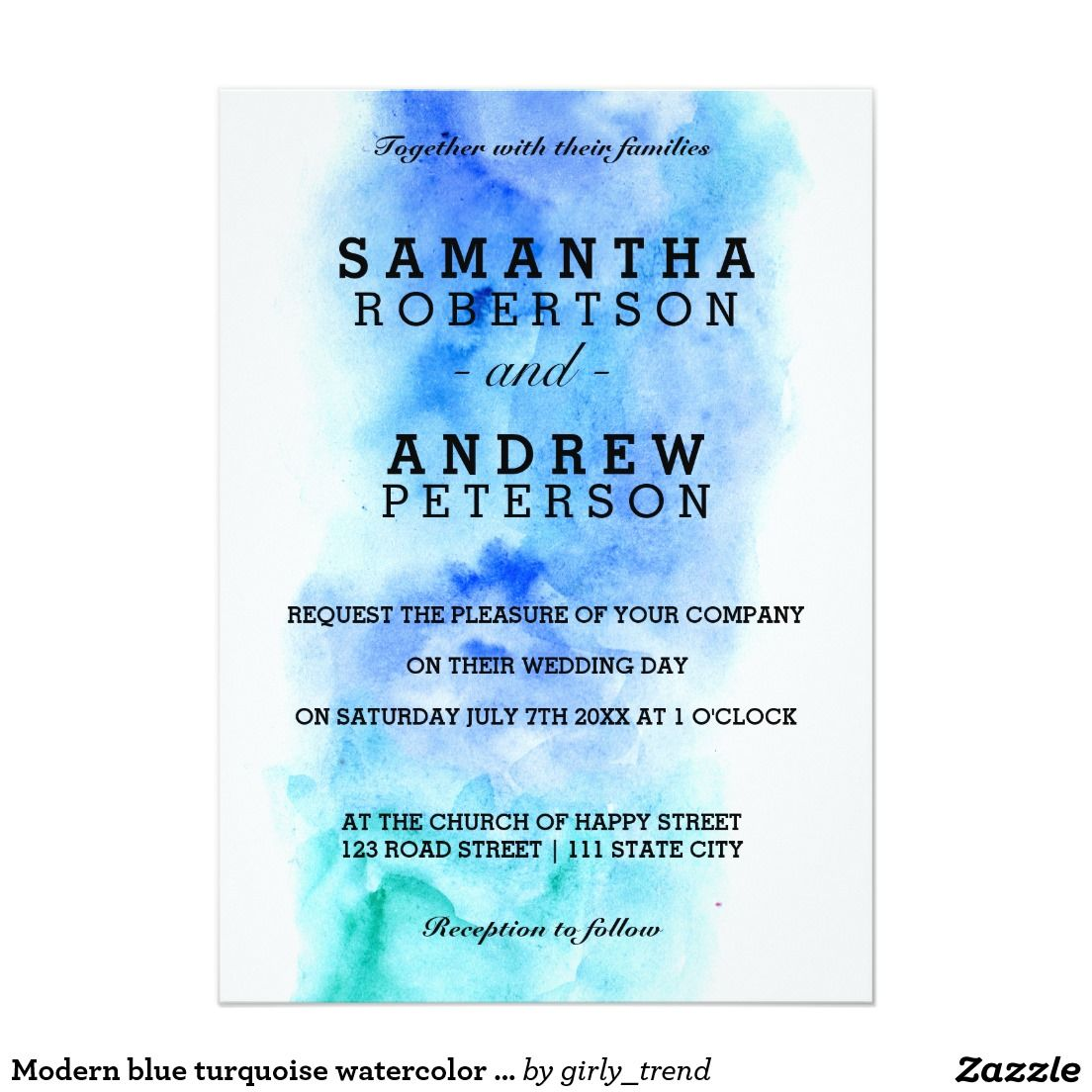 Modern blue turquoise watercolor wedding 13 cm x 18 cm invitation card