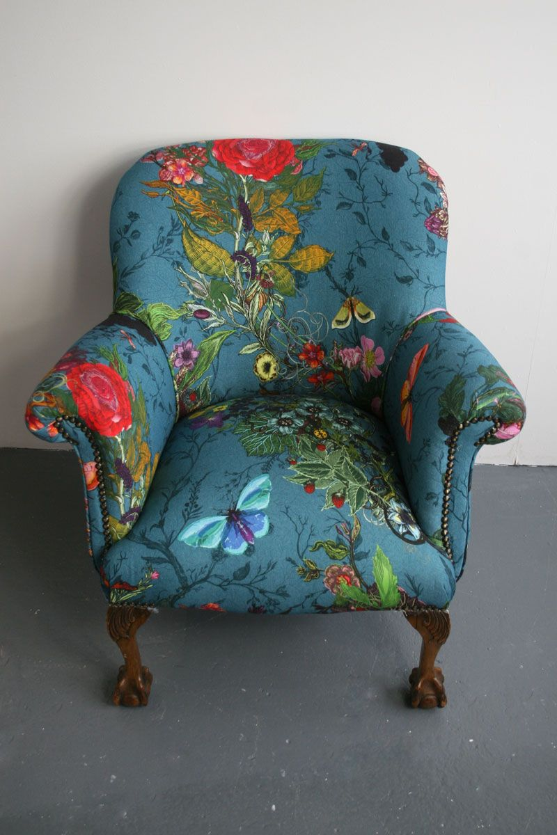 Furniture timorous beasties bloomsbury garden teal for Teal reading chair