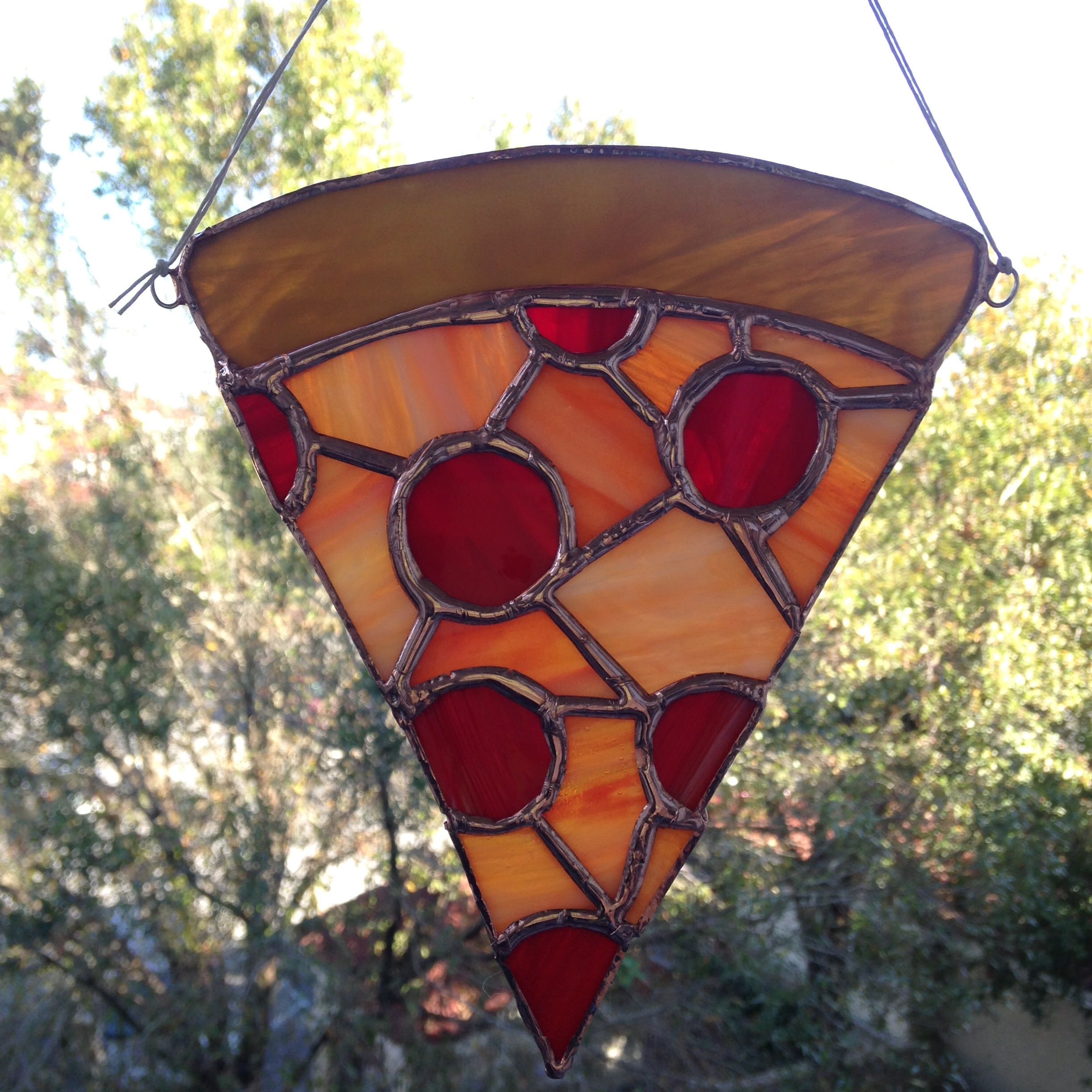 Stained Glass Pizza By Riseandshineglassfl On Etsy Https Www Etsy Com Listing 567556378 Stained Glass Pizza Stained Glass Just Pizza Stain