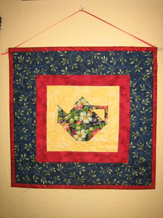 Flower Teapot Fabric Quilt Wall Hanging