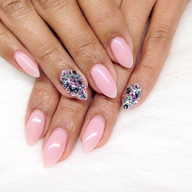 """"" Gel fill done by yours Truly !!! #amourbeautylounge #nailsbyalejandra #nailsbyalex #bodeganails #swarovski #blingnails #dopenails #pinknails #happyeaster #spring #ibdgelpolish #gelnails #nailpro2015 #nailgasm #vancitynails #vancity #nailart"