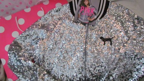 Victoria Secret 2013 Varsity Jacket Bling Sequin Limited Edition + PINK Gift Bag GORGEOUS!!!!!