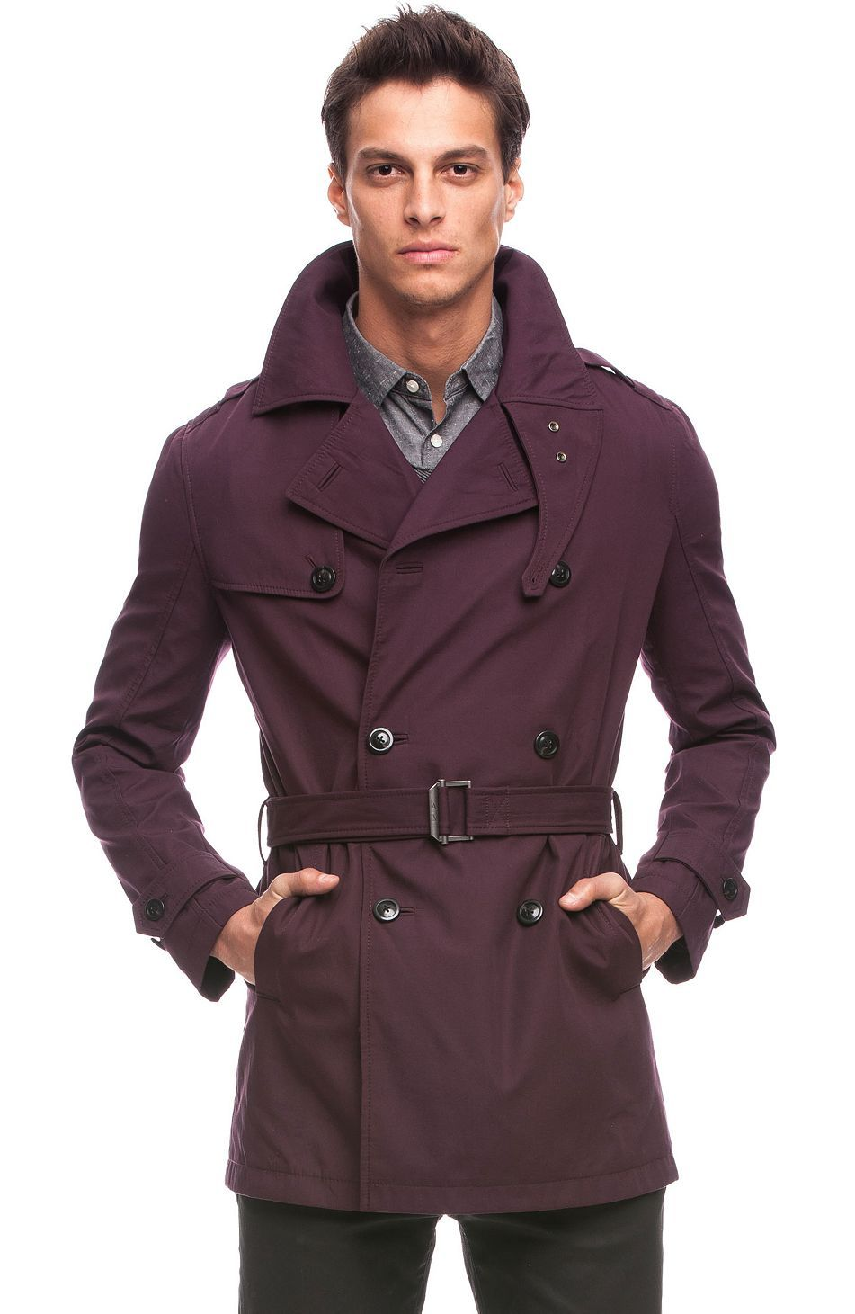 84f7c918 Burgundy trench coat from A|X Armani Exchange. That's a damn nice ...