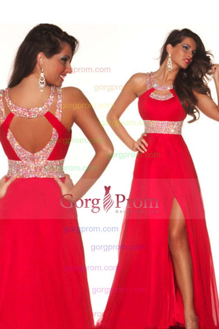 sexy prom dresses a line scoop sweepbrush red open back