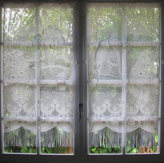 Lace Curtains Parrots Palm Tree Tropical Hatched In France