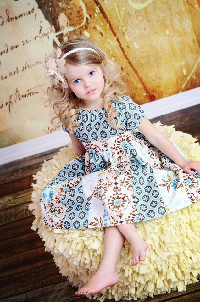 Childrens Clothing Spring Girls Stripwork Peasant Dress in Graceful.