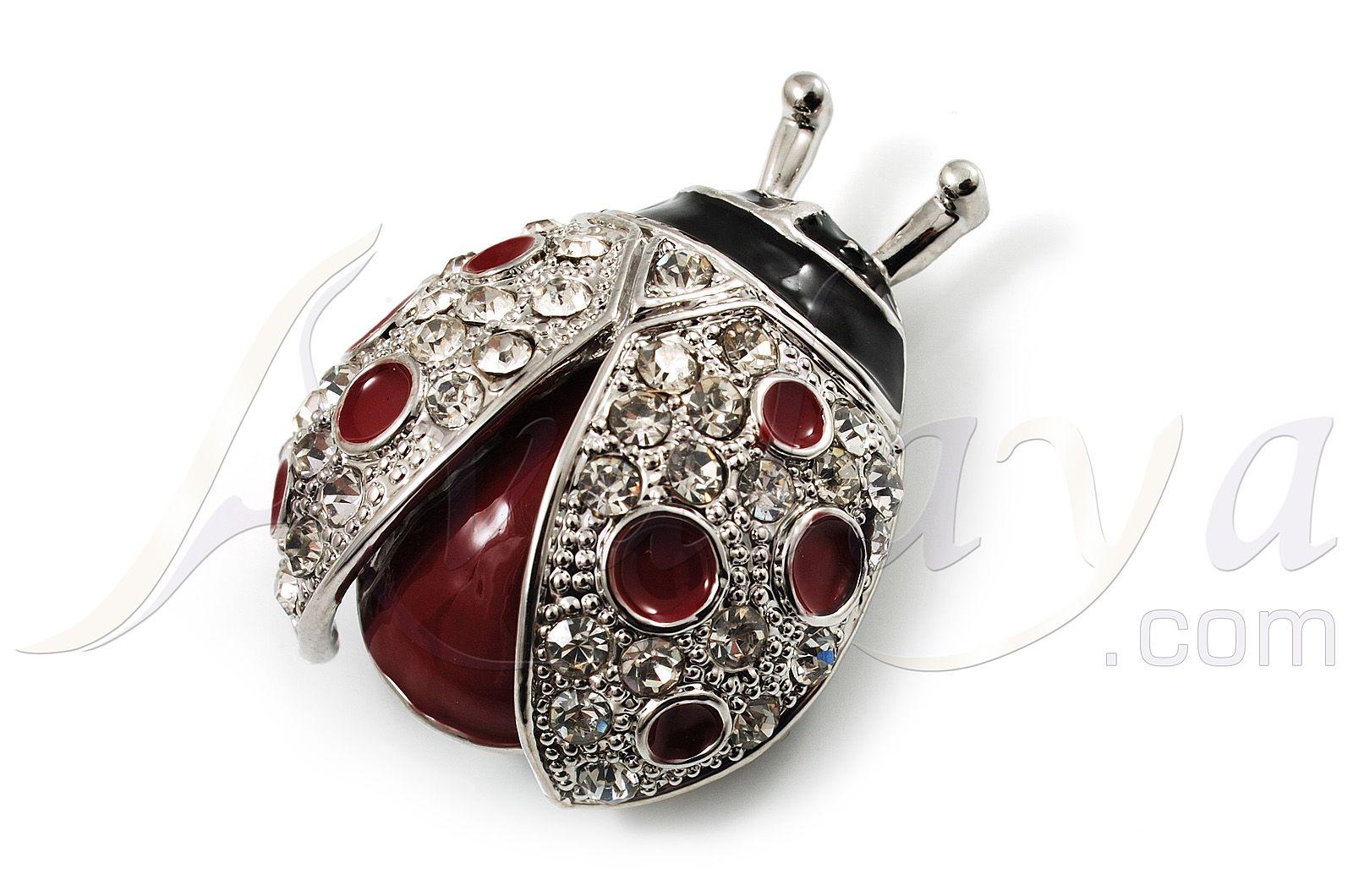 Red Enamel Ladybug Brooch (Silver Tone)   Avalaya.com