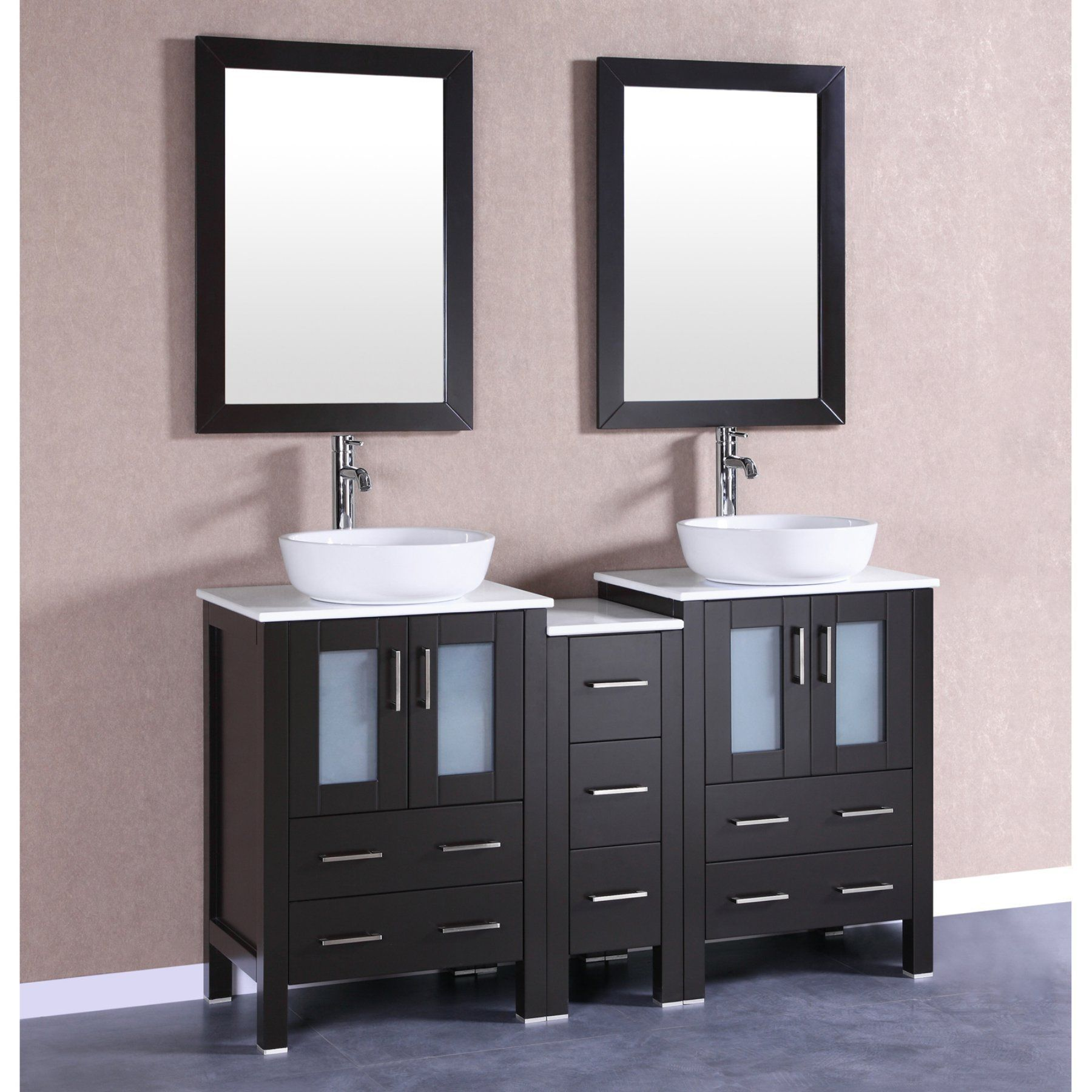 Bosconi Double Bathroom Vanity With Phoenix Stone Countertop
