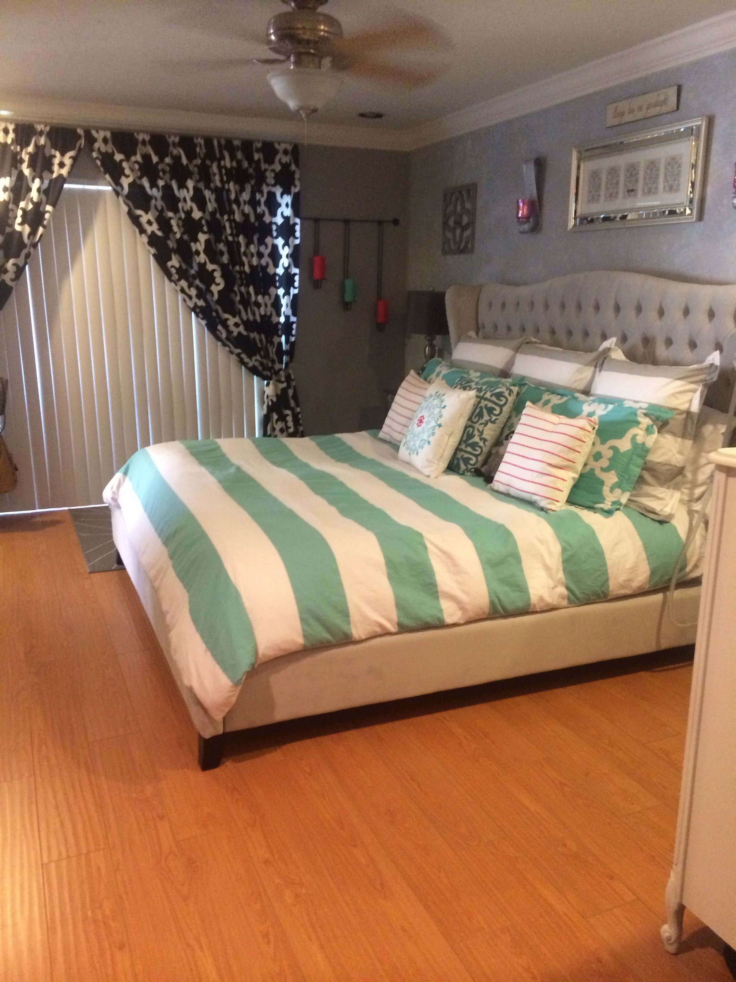 my zgallerie jameson bed in bella gray and zgallerie bedding
