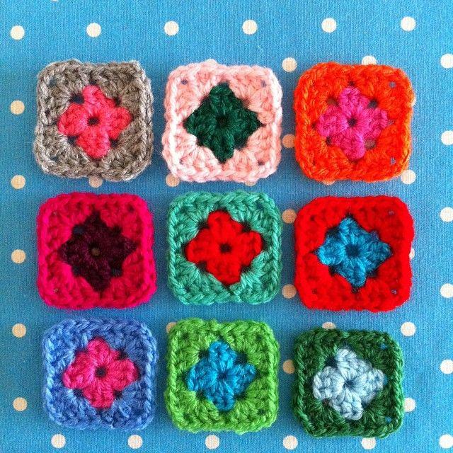 Kleine granny\'s haken van restjes acryl! | Haken | Pinterest