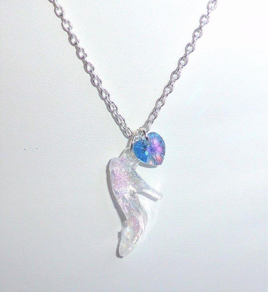 Cinderella swarovski blue crystal glass slipper necklace disney cinderella swarovski blue crystal glass slipper necklace disney princess inspired by adorna jewellery on etsy aloadofball Images