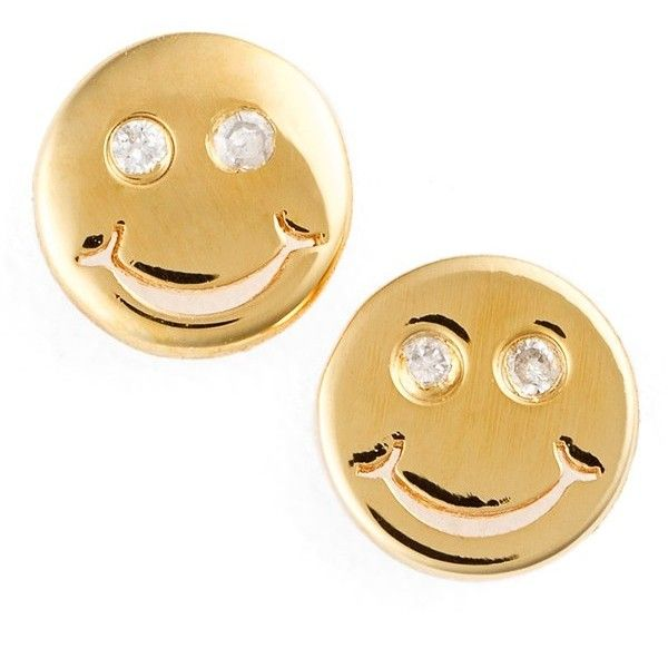 SHY by Sydney Evan 'Happy Face' Stud Earrings (1.390 ARS) ❤ liked on Polyvore featuring jewelry, earrings, gold, stud earring set, 14 karat gold jewelry, sydney evan, 14k earrings e 14 karat gold stud earrings