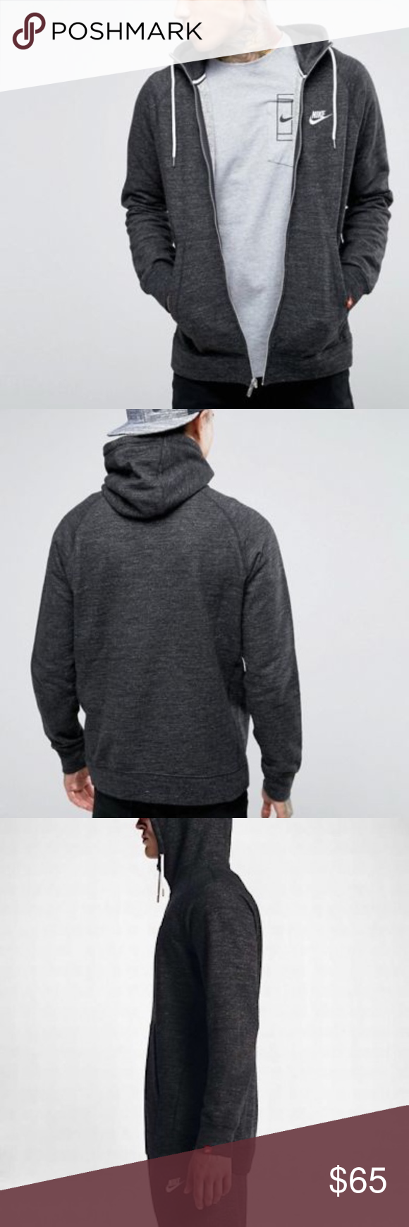 Nike Heritage Full zip Hoodie – BlackHeather