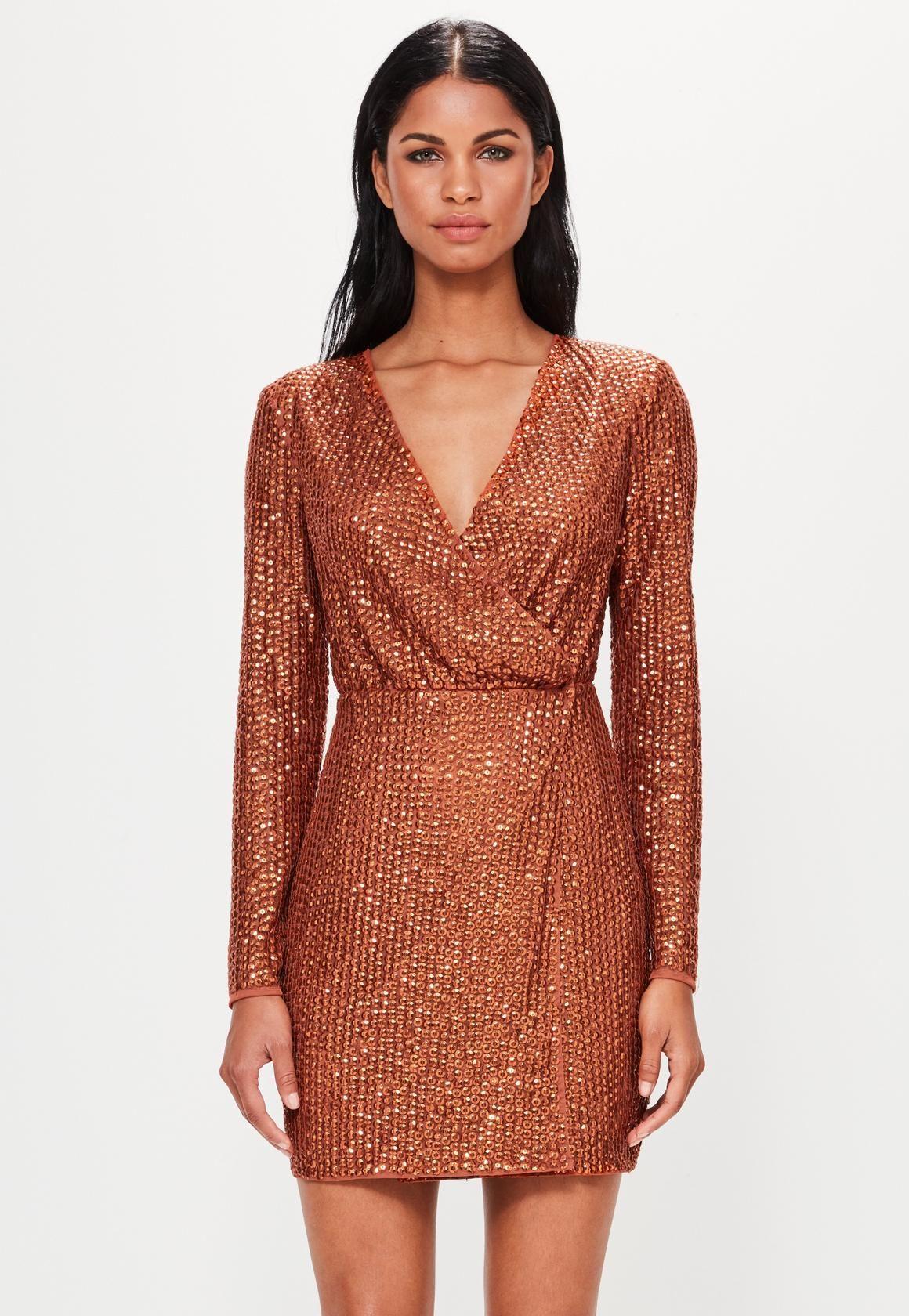 7370abd5190 Missguided - Peace Love Copper Sequin Wrap Mini Dress