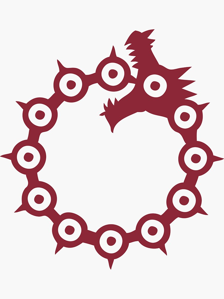 The Seven Deadly Sins - The Dragon Sin of Wrath (Red) Sticker by ESilenceDesigns