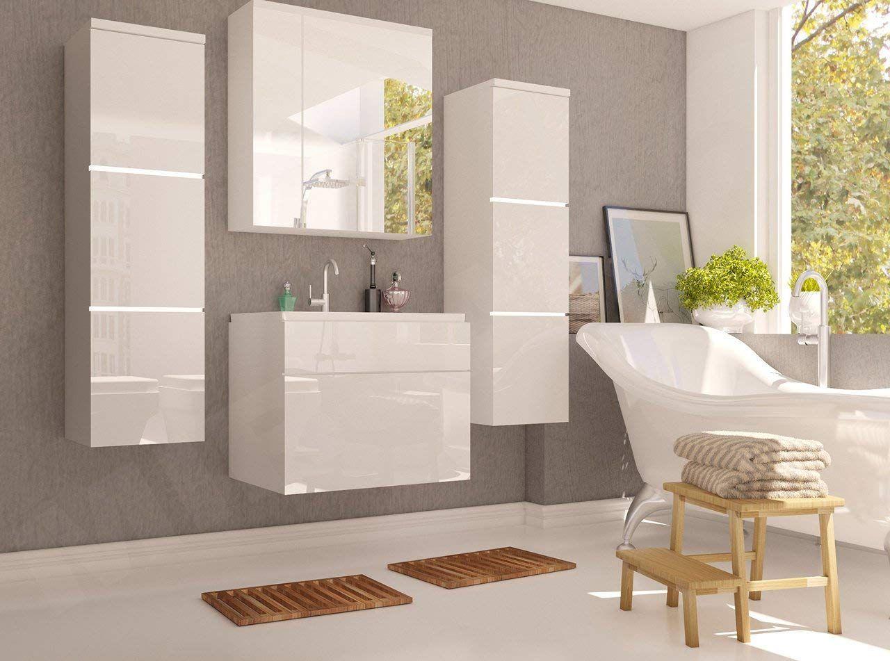 Badmobel Set Porto Mit Waschbecken Und Siphon Modernes Badezimmer Komplett Ink Spiegelschrank Waschtisch Hochschr Badezimmer Badezimmer Mobel Waschbecken